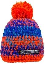 Poederbaas muts One Size - oranje/blauwe, muts met fleece, muts met pompom, skimuts voor wintersport, wintersport muts