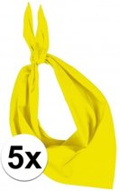 5x Zakdoek bandana geel - hoofddoekjes