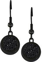 Quiges RVS Schroefsysteem Oorhangers Oorbellen Zwart met Verwisselbare Zirkonia Zwart Mini Munt Set