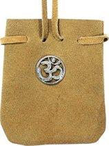 SUEDE POUCH ROUNDED WITH STRAP NATURAL- ROUND OM 3.25 x 2.7