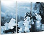 Glas schilderij Druiven, Keuken | Blauw, Grijs | 120x80cm 3Luik | Foto print op Glas |  F006826