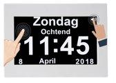Digitale- Kalenderklok met dagdeel+ Nederlandse spraak wit 8 inch