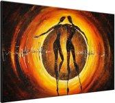 Schilderij handgeschilderd Modern | Bruin , Geel , Oranje | 120x70cm 1Luik