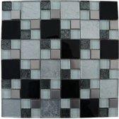 Mozaiek tegel zwart wit zilver