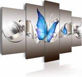 Schilderij - Blue butterflies
