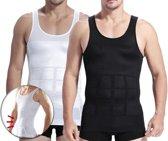 Corrigerend Hemd Mannen - Body Buik Shapewear Shirt - Figuurcorrigerend Correctie Ondershirt - Slim Waist Shaper - Mouwloos Onderhemd - Wit Large