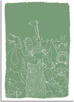 DesignClaud Kinderkamer poster Dieren - Groen A2 + Fotolijst zwart