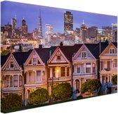 Huizen San Francisco Canvas 120x80 cm - Foto print op Canvas schilderij (Wanddecoratie woonkamer / slaapkamer) / Steden Canvas Schilderijen