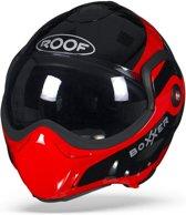 ROOF BoXXer Fuzo Rood Zwart Systeemhelm - Motorhelm - Maat XL
