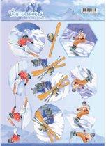 3D Knipvel - Jeanine's Art - Wintersports - Sneeuw Plezier