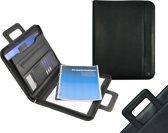 DESQ - Conferentiemap - A4 - Kunstleer - Met ritssluiting, ringmechaniek, schrijfblok en uitschuifbaar handvat - Zwart