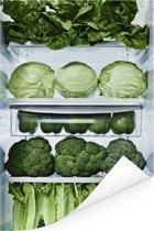 Verse bindsla in de koelkast Poster 75x150 cm - Foto print op Poster (wanddecoratie woonkamer / slaapkamer)