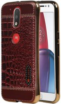 Wicked Narwal   M-Cases Croco Design backcover hoes voor Motorola Moto G4 Rood