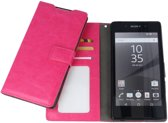 Sony Xperia E5 Luxury PU Leather Flip Case With Wallet & Stand Function Roze Pink