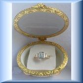 Unieke handgemaakte gouden ring met grote Aquamarijn en CZ