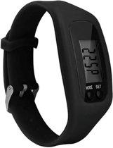 Fako Bijoux® - Horloge - LCD - Stappenteller - Gesp - Zwart