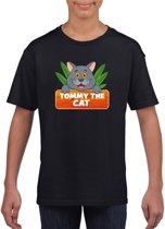 Tommy de kat t-shirt zwart voor kinderen - unisex - katten / poezen shirt L (146-152)