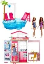 Barbiehuis met Zwembad en 3 Barbiepoppen
