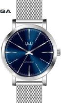 Q&Q mooi heren horloge  Q892J801Y- zilverkleurige band en blauwe wijzerplaat