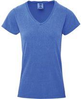 Basic V-hals t-shirt comfort colors licht blauw voor dames maat M