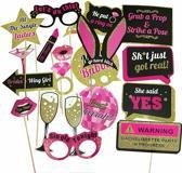 Bachelorette Photo Booth Props (20st) voor Bruid - pink bride - vrijgezellen feest - foto accessoires - bachelor - party decor met houten sticks– night out accessoire - trouwfeest – huwelijk – roze