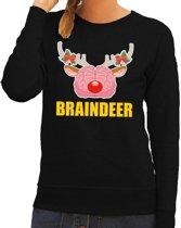 Foute kersttrui / sweater braindeer zwart voor dames - Kersttruien M (38)