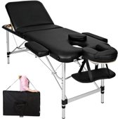 Mobiele Aluminium Massagetafel 3 Zones -  Zwart