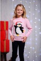 Foute Kersttrui Kinderen Dansende pinguin Roze - Maat 104/110