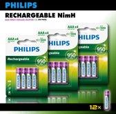 Philips AAA oplaadbare batterijen - 950 mAh -voordeelverpakking - 12 stuks
