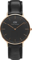 Daniel Wellington DW00100139 Classic Black Sheffield - Horloge - Leer - Zwart - Ø 36 mm