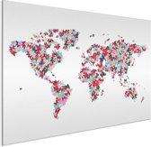 Wereldkaart vlinders kleur aluminium - artistiek - 90x60 cm | Wereldkaart Wanddecoratie Aluminium