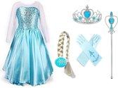 Frozen Elsa jurk met sleep maat 116/122 (130)+ 4-delig accessoireset