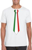 Wit t-shirt met Italiaanse vlag stropdas heren - Italie supporter 2XL