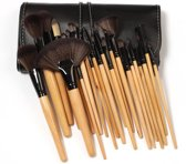 Professionele 24-delige hout make-up kwasten set - Inclusief lederen etui