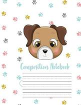 Composition Notebook: Cute Puppy Dog Primary Story Journal: Dotted Midline and Picture Space Practice Writing Letters Preschoolers Kindergar