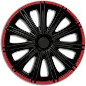 Autostyle Wieldoppen Nero 16 Inch Abs Zwart/rood Set Van 4