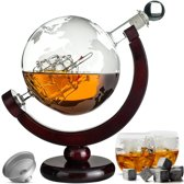 Whiskey Karaf Set - Whiskey Decanteerkaraf - 8 Whisky Stenen - Globe Decanter Met Wereldbol Ontwerp - Luxe Whiskey Karaf + GRATIS Whisky Stones