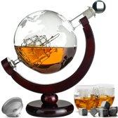 Whiskey Karaf Set - Whiskey Decanteerkaraf - 8 Whisky Stenen - Globe Decanter Met Wereldbol Ontwerp - GRATIS Whisky Stones & Schenktuitje