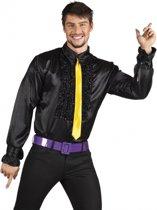 Voordelige zwarte rouche blouse L