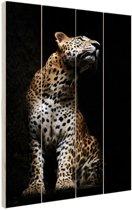 Luipaard portret  Hout 60x80 cm - Foto print op Hout (Wanddecoratie)