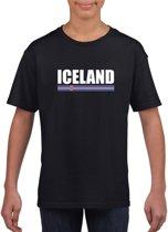 Zwart IJsland supporter t-shirt voor kinderen - IJslandse vlag shirts L (146-152)