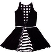 3ef86b692136d2 LoFff Z8112-04 Jurk Panel Dress - Zwart Wit