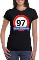 Verkeersbord 97 jaar t-shirt zwart dames M