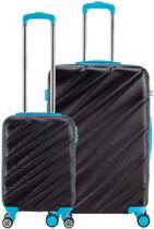 Decent Lumi-Fix - ABS kofferset - 2 delig - zwart/blauw