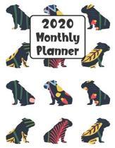 2020 Monthly Planner: Bulldog Dog - 12 Month Planner Calendar Organizer Agenda with Habit Tracker, Notes, Address, Password, & Dot Grid Page