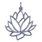 Zilveren Lotus ketting hanger - zijaanzicht