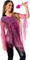 Poncho pink circus met glitters