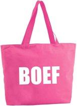 Boef shopper tas - fuchsia roze - 47 x 34 x 12,5 cm - boodschappentas / strandtas