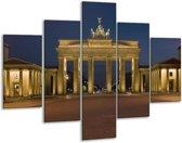 Glasschilderij Steden | Geel, Blauw, Bruin | 100x70cm 5Luik | Foto print op Glas |  F002844