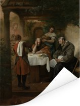 De Emmausgangers - Schilderij van Jan Steen Poster 60x80 cm - Foto print op Poster (wanddecoratie woonkamer / slaapkamer)